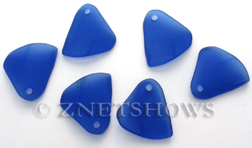 Cultured Sea Glass fancy triangle Pendants  <b>29x25mm</b> 33-Royal Blue    per  <b>10-pc-bag</b>