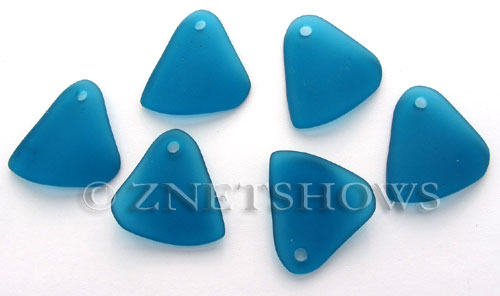 Cultured Sea Glass fancy triangle Pendants  <b>29x25mm</b> 82-Teal    per  <b>10-pc-bag</b>