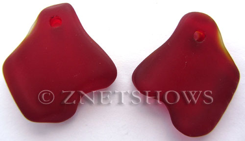 Cultured Sea Glass ridged freeform Pendants  <b>35x23mm</b> 05-Cherry Red    per  <b>10-pc-bag</b>