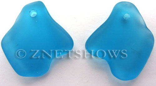 Cultured Sea Glass ridged freeform Pendants  <b>35x23mm</b> 30-Pacific Blue    per  <b>10-pc-bag</b>