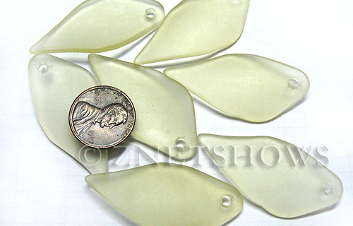 Cultured Sea Glass fancy shard Pendants  <b>45x20mm</b> 84-Lemon    per  <b>7-pc-bag</b>