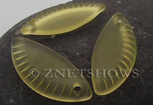 Cultured Sea Glass ridged crescent Pendants  <b>43x18mm</b> 16-Desert Gold    per  <b>7-pc-bag</b>