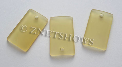 Cultured Sea Glass bottle-curved wide rectangle Pendants  <b>33x19mm</b> 16-Desert Gold    per  <b>6-pc-bag</b>