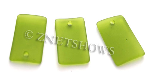 Cultured Sea Glass bottle-curved wide rectangle Pendants  <b>33x19mm</b> 22-Olive    per  <b>6-pc-bag</b>