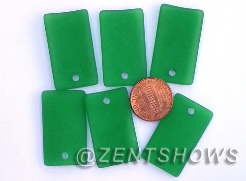 Cultured Sea Glass bottle-curved wide rectangle Pendants  <b>33x19mm</b> 25-Shamrock    per  <b>6-pc-bag</b>