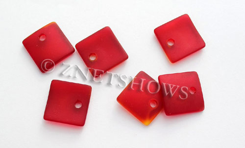 Cultured Sea Glass concave small square Pendants  <b>19x16mm</b> 05-Cherry Red    per  <b>8-pc-bag</b>