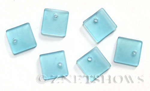 Cultured Sea Glass concave small square Pendants  <b>19x16mm</b> 28-Turquoise Bay    per  <b>8-pc-bag</b>