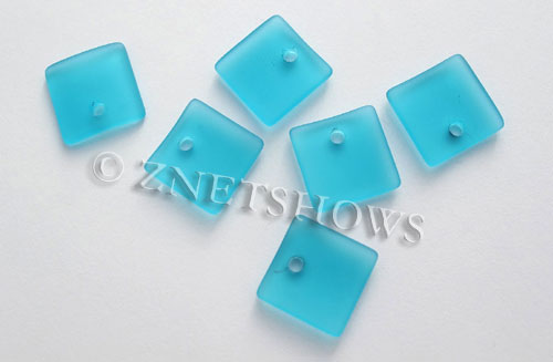 Cultured Sea Glass concave small square Pendants  <b>19x16mm</b> 30-Pacific Blue    per  <b>8-pc-bag</b>