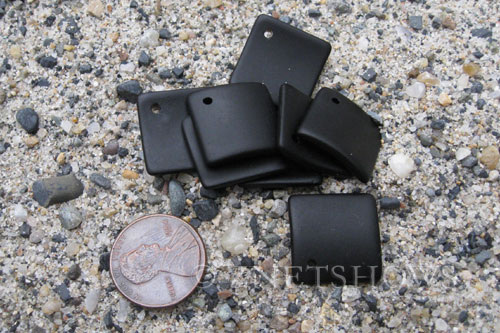 Cultured Sea Glass bottle-curved diamond square Pendants  <b>18x18mm</b> 02-Jet Black (New and Smaller Size)   per  <b>8-pc-bag</b>