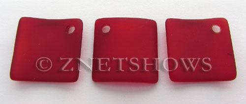 Cultured Sea Glass bottle-curved diamond square Pendants  <b>22x22mm</b> 05-Cherry Red    per  <b>6-pc-bag</b>