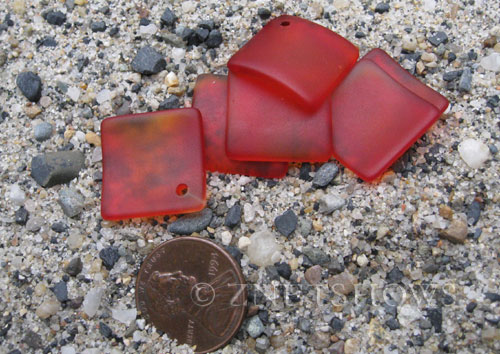 Cultured Sea Glass bottle-curved diamond square Pendants  <b>18x18mm</b> 05-Cherry Red (New and Smaller Size)   per  <b>6-pc-bag</b>