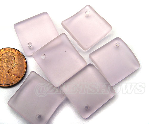 Cultured Sea Glass bottle-curved diamond square Pendants <b>18x18mm</b>  06-Blossom Pink   per <b>8-pc-bag</b>