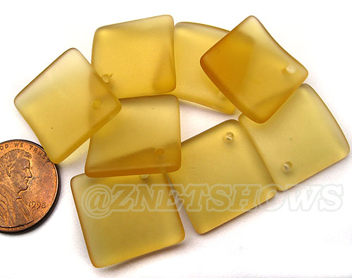 Cultured Sea Glass bottle-curved diamond square Pendants <b>18x18mm</b>  16-Desert Gold   per <b>8-pc-bag</b>