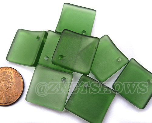 Cultured Sea Glass bottle-curved diamond square Pendants <b>18x18mm</b>  25-Shamrock   per <b>8-pc-bag</b>