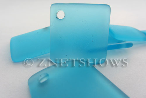 Cultured Sea Glass bottle-curved diamond square Pendants  <b>22x22mm</b> 28-Turquoise Bay    per  <b>8-pc-bag</b>