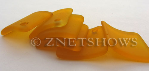 Cultured Sea Glass bottle-curved diamond square Pendants  <b>22x22mm</b> 57-Saffron Yellow    per  <b>8-pc-bag</b>