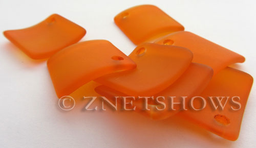 Cultured Sea Glass bottle-curved diamond square Pendants  <b>22x22mm</b> 83-Tangerine    per  <b>8-pc-bag</b>