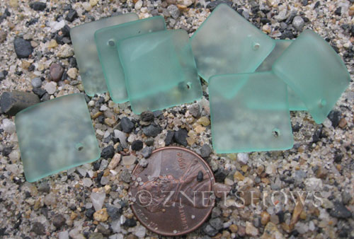 Cultured Sea Glass bottle-curved diamond square Pendants  <b>18x18mm</b> 89-Autumn Green (New and Smaller Size)   per  <b>8-pc-bag</b>