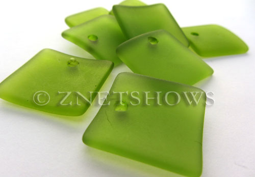 Cultured Sea Glass concaved large square Pendants  <b>22x22mm</b> 22-Olive    per  <b>8-pc-bag</b>