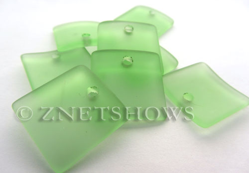 Cultured Sea Glass concaved large square Pendants  <b>22x22mm</b> 23-Peridot    per  <b>8-pc-bag</b>