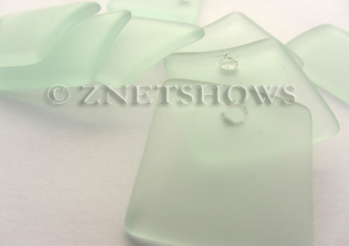 Cultured Sea Glass concaved large square Pendants  <b>22x22mm</b> 88-Light Aqua `Coke` bottle Seafoam    per  <b>8-pc-bag</b>