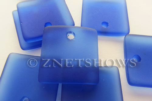 Cultured Sea Glass concaved large square Pendants  <b>22x22mm</b> 33-Royal Blue    per  <b>8-pc-bag</b>
