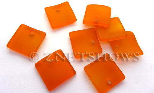 Cultured Sea Glass concaved large square Pendants  <b>22x22mm</b> 83-Tangerine    per  <b>8-pc-bag</b>