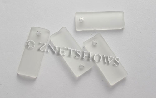 Cultured Sea Glass bottle-curved thin rectangle Pendants  <b>35x14mm</b>  01-Crystal    per  <b>6-pc-bag</b>