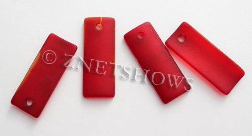 Cultured Sea Glass bottle-curved thin rectangle Pendants  <b>35x14mm</b>  05-Cherry Red    per  <b>6-pc-bag</b>