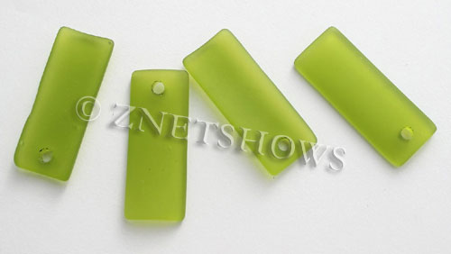 Cultured Sea Glass bottle-curved thin rectangle Pendants  <b>35x14mm</b>  22-Olive    per  <b>6-pc-bag</b>