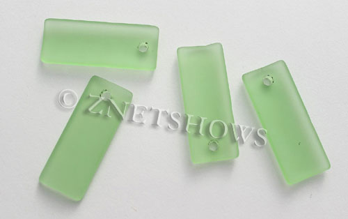 Cultured Sea Glass bottle-curved thin rectangle Pendants  <b>35x14mm</b>  23-Peridot    per  <b>6-pc-bag</b>