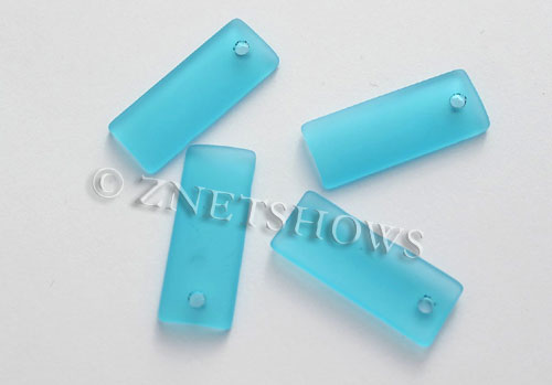 Cultured Sea Glass bottle-curved thin rectangle Pendants  <b>35x14mm</b>  30-Pacific Blue    per  <b>6-pc-bag</b>