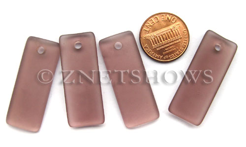 Cultured Sea Glass bottle-curved thin rectangle Pendants  <b>35x14mm</b> 37-Medium Amethyst    per  <b>6-pc-bag</b>