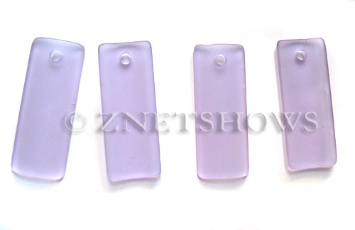 Cultured Sea Glass bottle-curved thin rectangle Pendants  <b>35x14mm</b> 39-Periwinkle Changes    per  <b>6-pc-bag</b>