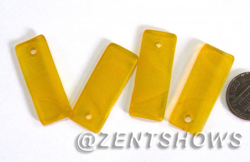 Cultured Sea Glass bottle-curved thin rectangle Pendants  <b>35x14mm</b> 57-Saffron Yellow    per  <b>6-pc-bag</b>