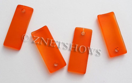 Cultured Sea Glass bottle-curved thin rectangle Pendants  <b>35x14mm</b>  83-Tangerine    per  <b>6-pc-bag</b>