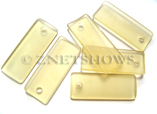 Cultured Sea Glass bottle-curved thin rectangle Pendants  <b>35x14mm</b> 84-Lemon    per  <b>6-pc-bag</b>
