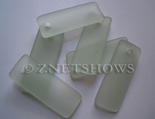 Cultured Sea Glass bottle-curved thin rectangle Pendants  <b>35x14mm</b> 88-Light Aqua `Coke` bottle Seafoam    per  <b>6-pc-bag</b>