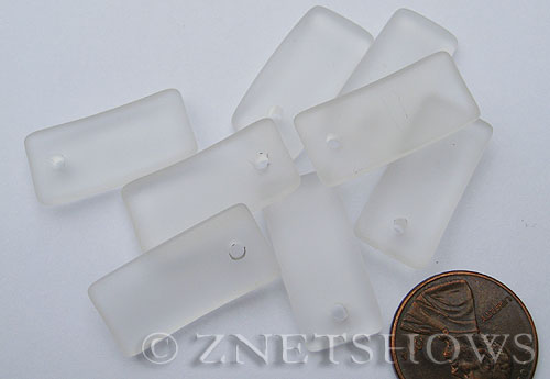 Cultured Sea Glass bottle-curved earring rectangle Pendants  <b>22x11mm</b>  01-Crystal    per  <b>8-pc-bag</b>