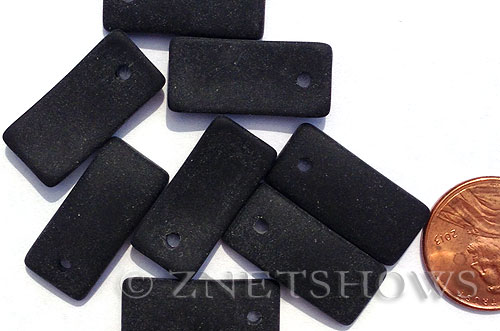 Cultured Sea Glass bottle-curved earring rectangle Pendants  <b>22x11mm</b> 02-Jet Black    per  <b>8-pc-bag</b>