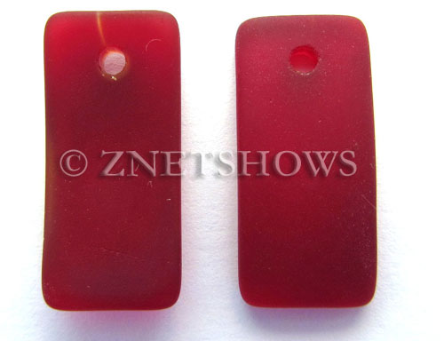 Cultured Sea Glass bottle-curved earring rectangle Pendants  <b>22x11mm</b> 05-Cherry Red    per  <b>8-pc-bag</b>
