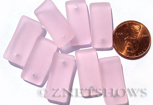 Cultured Sea Glass bottle-curved earring rectangle Pendants  <b>22x11mm</b> 06-Blossom Pink    per  <b>8-pc-bag</b>
