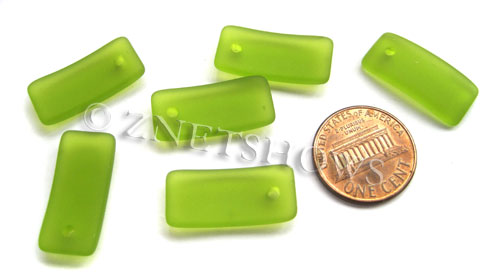 Cultured Sea Glass bottle-curved earring rectangle Pendants  <b>22x11mm</b> 22-Olive    per  <b>8-pc-bag</b>