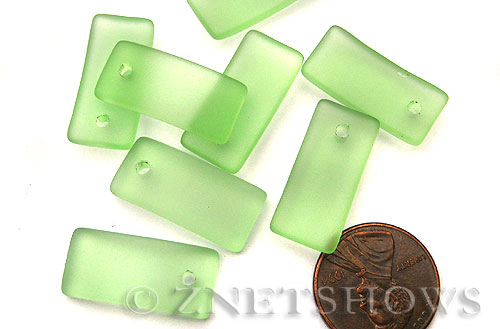 Cultured Sea Glass bottle-curved earring rectangle Pendants  <b>22x11mm</b> 23-Peridot    per  <b>8-pc-bag</b>