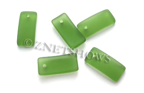 Cultured Sea Glass bottle-curved earring rectangle Pendants  <b>22x11mm</b> 25-Shamrock    per  <b>8-pc-bag</b>