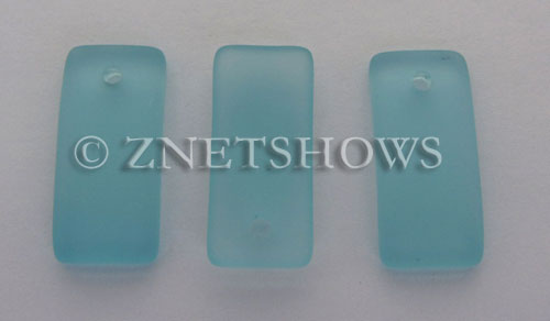 Cultured Sea Glass bottle-curved earring rectangle Pendants  <b>22x11mm</b> 28-Turquoise Bay    per  <b>8-pc-bag</b>
