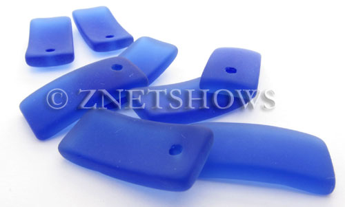 Cultured Sea Glass bottle-curved earring rectangle Pendants  <b>22x11mm</b> 33-Royal Blue    per  <b>8-pc-bag</b>