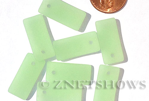 Cultured Sea Glass bottle-curved earring rectangle Pendants  <b>22x11mm</b> 43-Opaque Seafoam Green    per  <b>8-pc-bag</b>