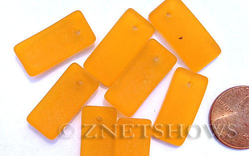 Cultured Sea Glass bottle-curved earring rectangle Pendants  <b>22x11mm</b> 57-Saffron Yellow    per  <b>8-pc-bag</b>