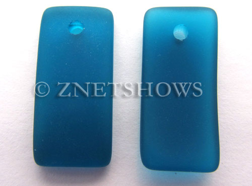 Cultured Sea Glass bottle-curved earring rectangle Pendants  <b>22x11mm</b> 82-Teal    per  <b>8-pc-bag</b>